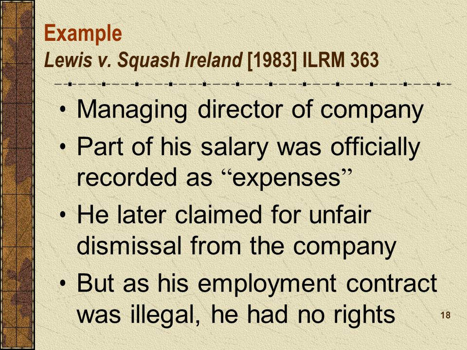 Example Lewis v. Squash Ireland [1983] ILRM 363